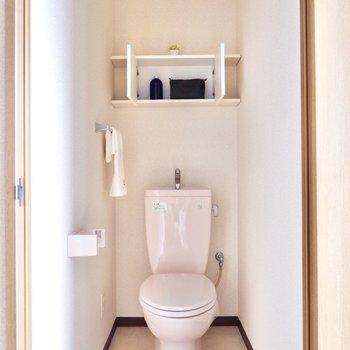 収納棚付きのトイレ。