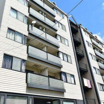 2棟を階段でつなぐような造りのマンション