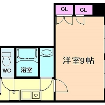お部屋はちょっぴり変形な1K。