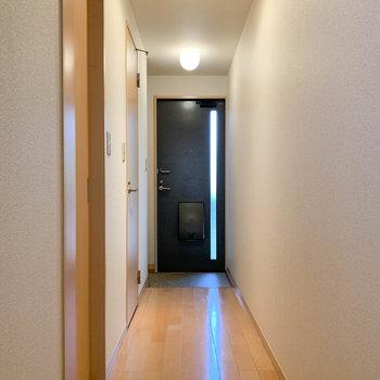 廊下部分です。玄関から一筋の光が。※写真は2階の同間取り別部屋のものです