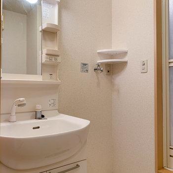サニタリーです。洗濯機はここに。※写真は2階の同間取り別部屋のものです