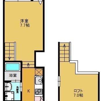 ゆったり1人暮らしを楽しめるメゾネットタイプのお部屋です