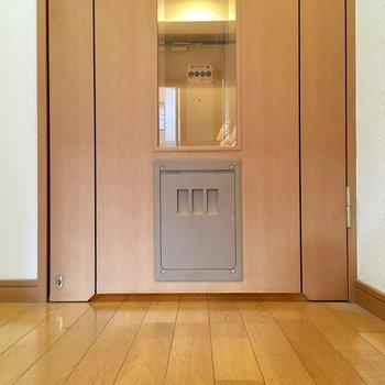 ドアにはワンちゃん用の小さなドア発見!(※写真は清掃前のものです)