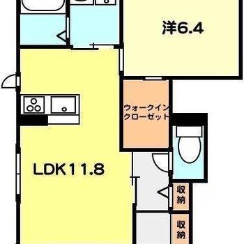 程良い広さの1LDKです。※実際のお部屋は反転した間取りです
