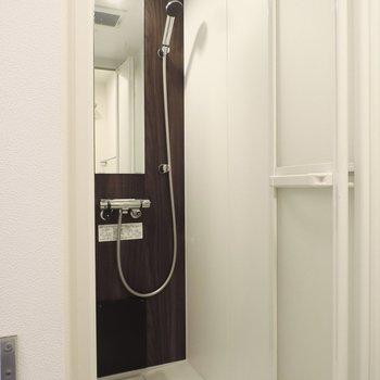 シャワールームでも比較的広かったですよ※写真は2階の同間取り別部屋のものです