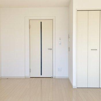 ドアと収納の白さが、清潔感を漂わせます。