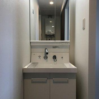 洗面台は独立式 収納豊富