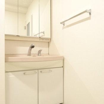 大きな洗面台。並んで歯磨きできそう♬(※写真は2階の同間取り別部屋のものです)