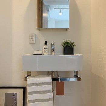 鏡を開けると収納スペース。※写真は2階の同間取り別部屋のものです