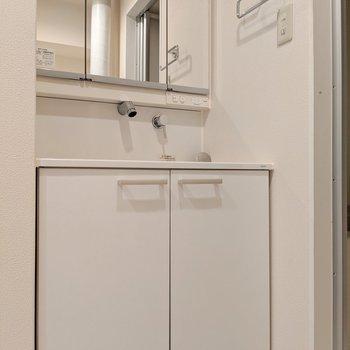 3面鏡付き洗面台はホコリもたまりにくいし、おめかしにも◎(※写真は2階の同間取り別部屋のものです)