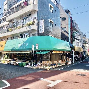 お部屋の近くは八百屋さんなど個人商店で賑わっています。