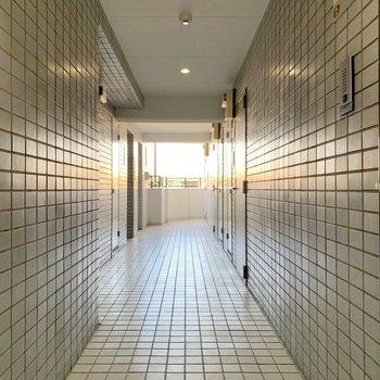 タイルタイルした共用廊下。