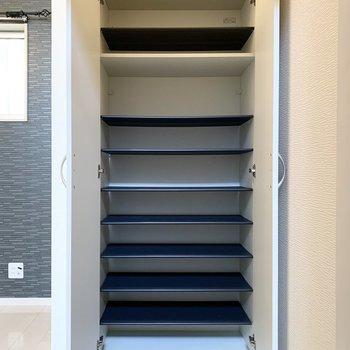 シューズボックスは1段に3足程の可動棚。