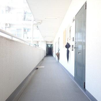 部屋は廊下の向こう側です。