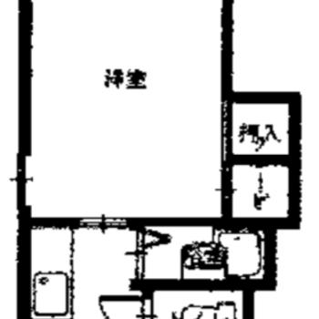 キッチンと洋室の分かれた1K。