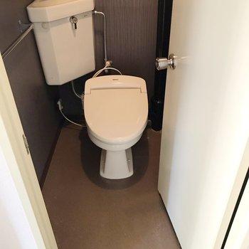 トイレは廊下に。ウォシュレットもサービス設置品です!(※写真は清掃前のものです)