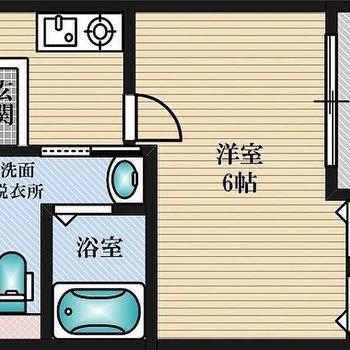コンパクトな1Kのお部屋です。