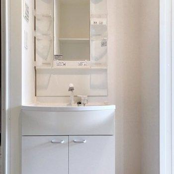 どっしり洗面台には化粧水などたくさん収納できます◎(※写真は清掃前のものです)