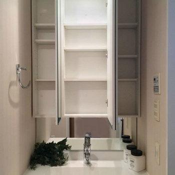 鏡の中は収納に!生活感を隠せます◎※写真は1階の同間取り別部屋のものです
