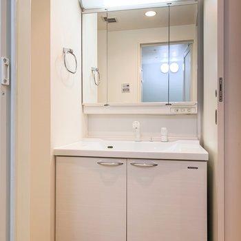 洗面台はかなりゆったりしているので、朝の支度はこちらで済ませられそうです。