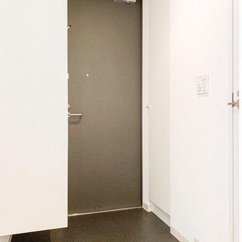 シックなデザインの玄関。