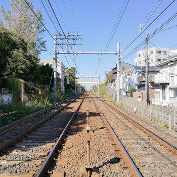 京成線の線路が近くにあります。