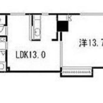 広々とした洋室とLDKが縦長になった間取りです。