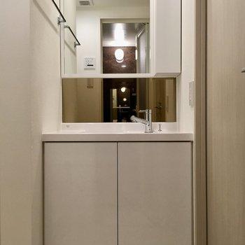 温水も出るので、冬場の洗顔もらくらくです。※写真は9階の反転間取り別部屋のものです