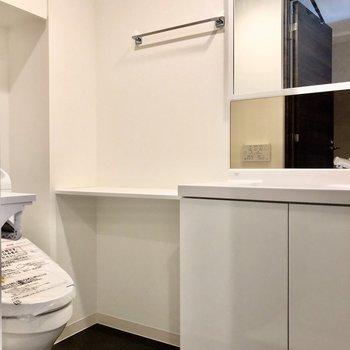 脱衣所には洗面台とトイレがあります※写真は5階の同間取り別部屋のものです