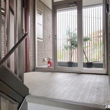 お部屋は左のワインレッドのドアです