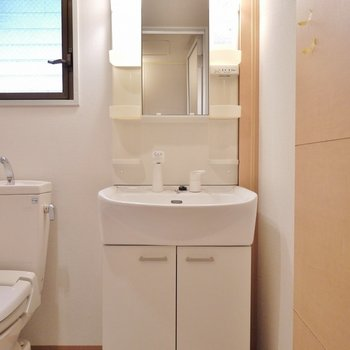 隣に洗面台。※写真は103号室のもの