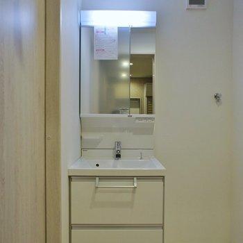収納のある洗面。※写真は同タイプの別部屋