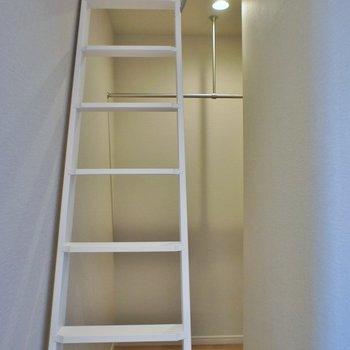 収納は梯子の裏に。※写真は同タイプの別部屋