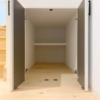 玄関前の扉を開けると、奥行きんある床下収納がありました!