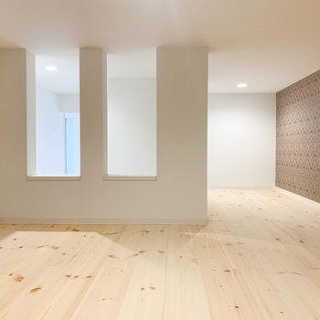 奥側からみると。壁が適度に空いているので、お部屋と空気が循環します。