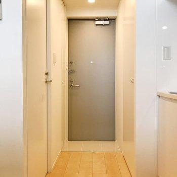 【DK】玄関は段差がないタイプなので、マットを敷くといいかも。