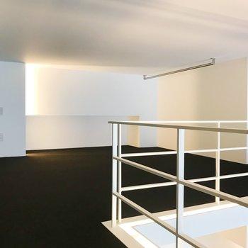 【ロフト】床はカーペット素材です。オープン収納もあります。
