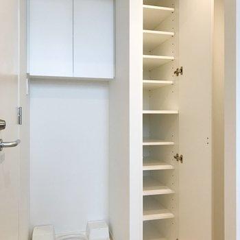 靴箱は靴以外も収納できそうな容量。