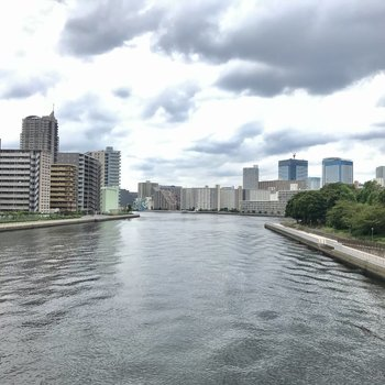 東京湾が街の光を映し出します