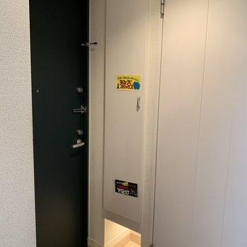 玄関の下駄箱下には足元ライト