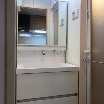 脱衣所には大きな洗面台も。※写真は4階の同間取り別部屋のものです