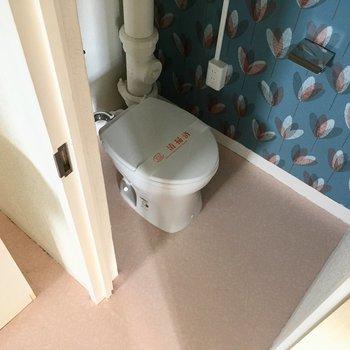 トイレはコンパクト。アクセントクロスが可愛い〜1