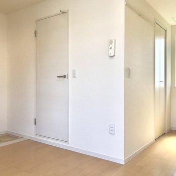 左から玄関、サニタリー、右奥がクローゼットです。
