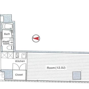 L字で廊下沿いに水回り。奥にお部屋。という構造です。
