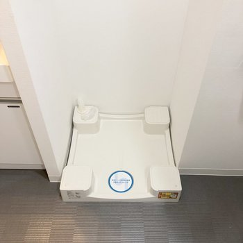 脱衣所に洗濯機。脱いだ服もすぐ洗えます。