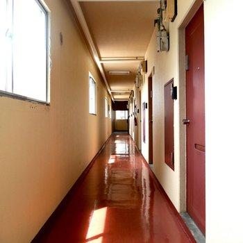 ドアと同じ、あずき色の共用部◎