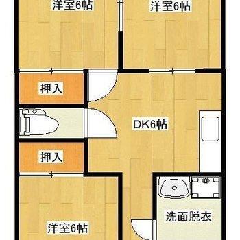 広々3DK。2人で住んでも、それぞれのお部屋が持てます。