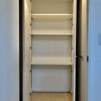 隣にある収納は棚があるので小物や本などを置いてもいいですね