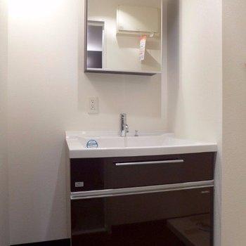 洗面台も大きめ。