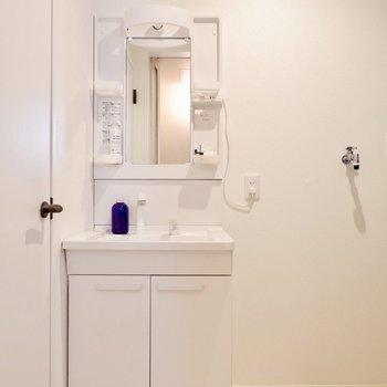 独立洗面台は新たに設置しました。※家具・雑貨はサンプルです